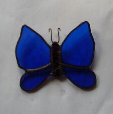 HANDMADE SMALL GLASS  DARK BLUE BUTTERFLY WINDOW DECORATION / SUNCATCHER