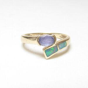 ASH Estate 14K Yellow Gold 0.40 Ct Natural Purple Tanzanite And Opal Inlay Ring