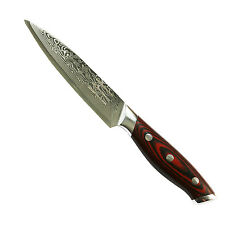 "Kamosoto Japanese VG-10 67-Layers 5"" Damascus Steel Utility Knife, Tiny Wave"