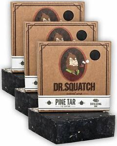 New Dr. Squatch Pine Tar Soap 3-pack Bundle - Mens Bar with Natural Woodsy Scent