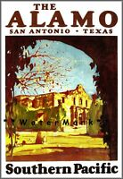 The Alamo Texas 1929 Southern Pacific Railroad Vintage Poster Print Retro Art