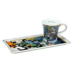 """ESPRESSO SET GOEBEL PORZELLAN Kunst & Kaffee """"Auguste Renoir - Frühlingsblumen"""""""