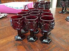 1876 Avon Cape Cod Cranberry Footed Wine Glasses - Set of 11 - 4.5""