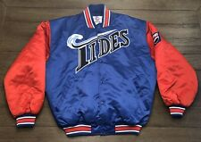 Vintage Starter Mens Size XL Norfolk Tides Blue Red Satin Dugout Jacket