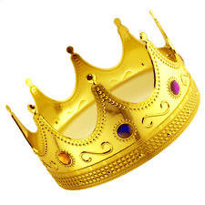Plastic King Gold Crown GOT Jeweled Regal Adults Prince Costume Prop LOT