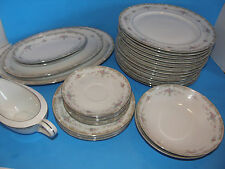VINTAGE 26 PC ENKORE CONTESSA DINNERWARE CHINA SET #7109 WHITE FLORAL DESIGN