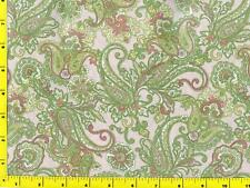 Light Green Dark Pink and Yellow Paisley on Light Pink By The Yard CSHPAI04787