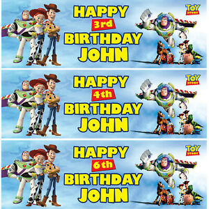 2 X Personalised Toy Story Birthday Banner Nursery Children Kid Party Decoration