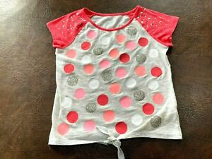 Girl's Size 12 JUSTICE Top Short Sleeve Waist-Tie Embellished Gray Coral Glitter