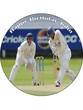 "7.5"" Cricket Personalised Premium Rice Paper Edible Cake Topper"