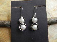 Pearls & Textured Sterling Silver dangle Earrings