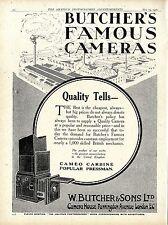 W. Butcher & Sons London Camera House Famous Kameras Klappkamera Annonce 1920