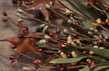 "12"" Leafy Pip Berry Pick w/Rusty Stars - Light Burgundy, Sage, Mustard"