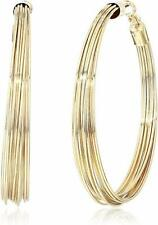 NEW GUESS BRASS GOLD TONE LARGE MULTI STRAND WIRES HOOP EARRINGS