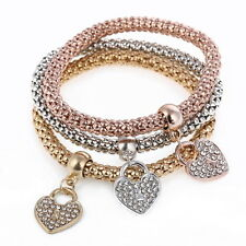 3Pcs/Set New Women Girl Bracelet Rhinestone Bangle Love Heart Charm Jewelry Gift