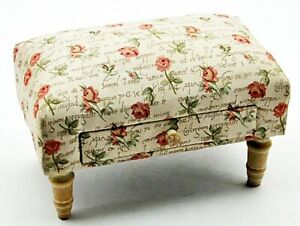 Footstool with Storage Drawer Roses Tapestry Fabric Footrest Home Decor Ornament