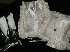 6 PIECE BRIDAL ACCESSORY SET. BAG, GARTER, GLASSES, BASKET, PILLOW & CAKE SERVER