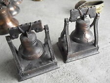 """Lot of 2 Older Brass and Plastic Liberty Bell Pencil Sharpeners 3"""" Tall Look"""