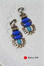Boucles d`Oreilles Clips Art Déco Bleu Foncé Marine Fringe Vintage Baroque BB 2