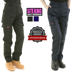 Ladies Cargo Combat Work Trousers Size 8 to 22 in Black or Navy By SITE KING