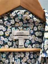 J Crew XS Perfect Shirt 2 Liberty Art Fabrics Leo Scarlet Blouse Blue Green Top