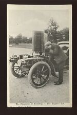 MOTORING Early Motor Car hood up hot engine 1905 Enamelette PPC Clarke & Hyde