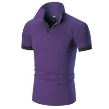 Men Slim Fit POLO Shirts Muscle Solid Short Sleeve Casual T-shirt Work Tee Top