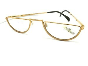 Silhouette Frames Glasses Man Reading Vintage Ages 80 Women's Gold