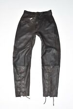 "Brown Leather MARCCAIN Tapered Lace Up Biker Women's Jeans Trousers Sz W29"" L29"""