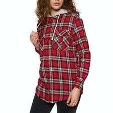 SWELL Hooded Womens Shirt Red Checked