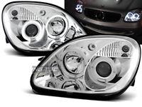 Coppia di Fari Anteriori per Mercedes R170 SLK 1996-2004 Angel Eyes Cromati IT L