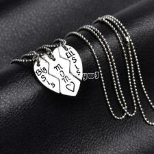 3 Pcs/Set Mother Daughter Heart Necklace Set Silver  Heart Pendant Necklaces