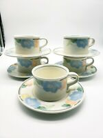 Mikasa Intaglio CAC08 GARDEN POETRY  Coffee Cups with Saucers