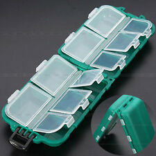 10 Compartments Fly Fishing Lures Spoon Hook Rig Bait Storage Case Tackle Box