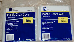 """2 x 2-Pack Plastic Chair Covers Size up to 46"""" x 76"""" SIMPLY SELF STORAGE OB-9050"""