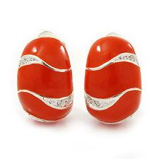 C-Shape Orange Enamel Diamante Clip-On Earrings In Rhodium Plating - 18mm Length