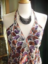 Laura Lees for Topshop Shell Print Purple Maxi Dress Festival Embroidery S BNWOT