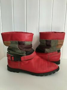 Fab Vintage 1980s Red Leather Patchwork Slouch Flat Ankle Boots Fit 5.5 Small 6