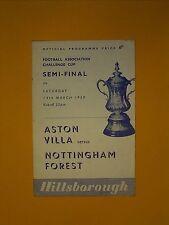 FA Cup Semi-Final - Aston Villa v Nottingham Forest - 14th March 1959