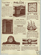 1942 PAPER AD Wood Wooden Walnut Airplane Propeller Clock Clocks Sailboat Boat