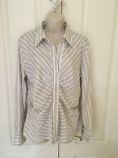 New York & Co Womens Career White Silver Striped Stretch Blouse Size XL 18