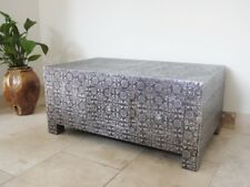 BLACK SILVER EMBOSSED DOUBLE SIDED COFFEE TABLE WITH DRAWERS STORAGE (DX3573)