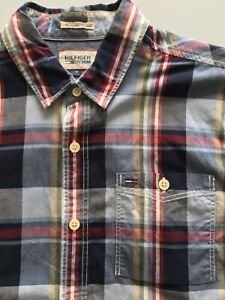 Tommy Hilfiger Denim M Red Blue Check LS Cotton Fadil Shirt - Rarely Used