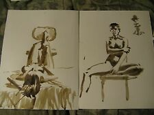 Painting Original Art Nude Naked Woman Girl walnut ink Chinese 2 pieces