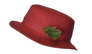 Tayberry Ladies Wax Feather Riding Hat 100% Wax Cotton Red Large (59CM) SALE