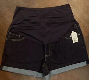NWT Maternity TIME & TRU Roll Cuff Dark Jean Full Panel Shorts Size XL 16/18