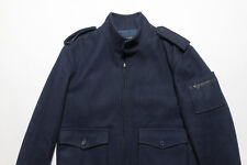 A.P.C Navy Blue Wool Flight Bomber Ribbed Knit APC Jacket Small S $495