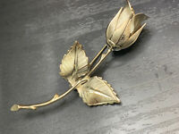 """Vintage Pin Brooch Silver Tone Rose Flower Design 3"""" Quality Signed Giovanni"""