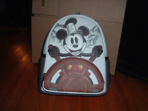 LOUNGEFLY DISNEY MICKEY MOUSE STEAMBOAT WILLIE MINI BACKPACK~ WITH TAGS~ NEW