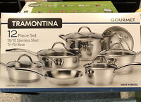 Tramontina 80154/522 12-Piece Gourmet Stainless Steel Tri-Ply Base Cookware Set